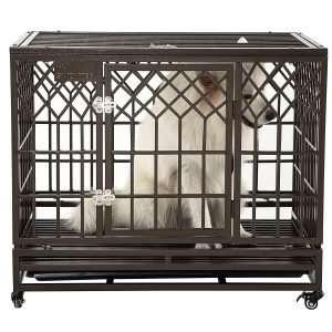 SMONTER Heavy Duty Strong Metal Dog Crate.