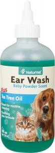 NaturVet Ear Wash with Tea Tree Oil for Dogs and Cats.