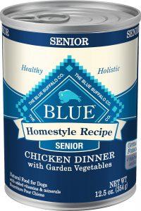 Blue Buffalo Home-Style Recipe Senior Chicken Dinner with Garden Vegetables.