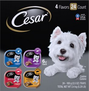 Cesar Loaf in Sauce Variety Pack Dog Food Trays.