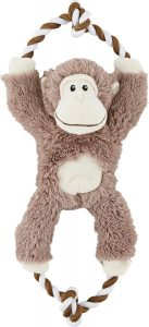 Frisco Plush with Rope Squeaking Monkey Dog Toy.