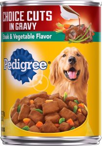 Pedigree Choice Cuts in Gravy Steak & Vegetable Flavor Canned Dog Food.