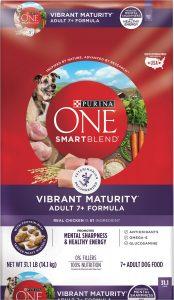 Purina ONE Smart Blend Vibrant Maturity 7+ Adult Formula Dry Dog Food.