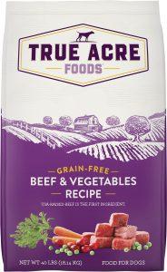 True Acre Foods Beef & Vegetable Recipe Grain-Free Dry Dog Food.