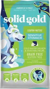 Solid Gold Leaping Waters Sensitive Stomach Cold Water Salmon & Vegetable Recipe Grain-Free Dry Dog Food.
