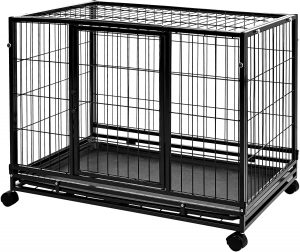 Amazon Basics Heavy Duty Stackable Pet Kennel with Tray.