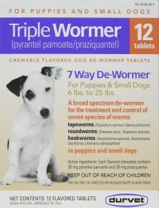 DURVET 12-Pack Triple Wormer Tablets for Puppies and Small Dogs.