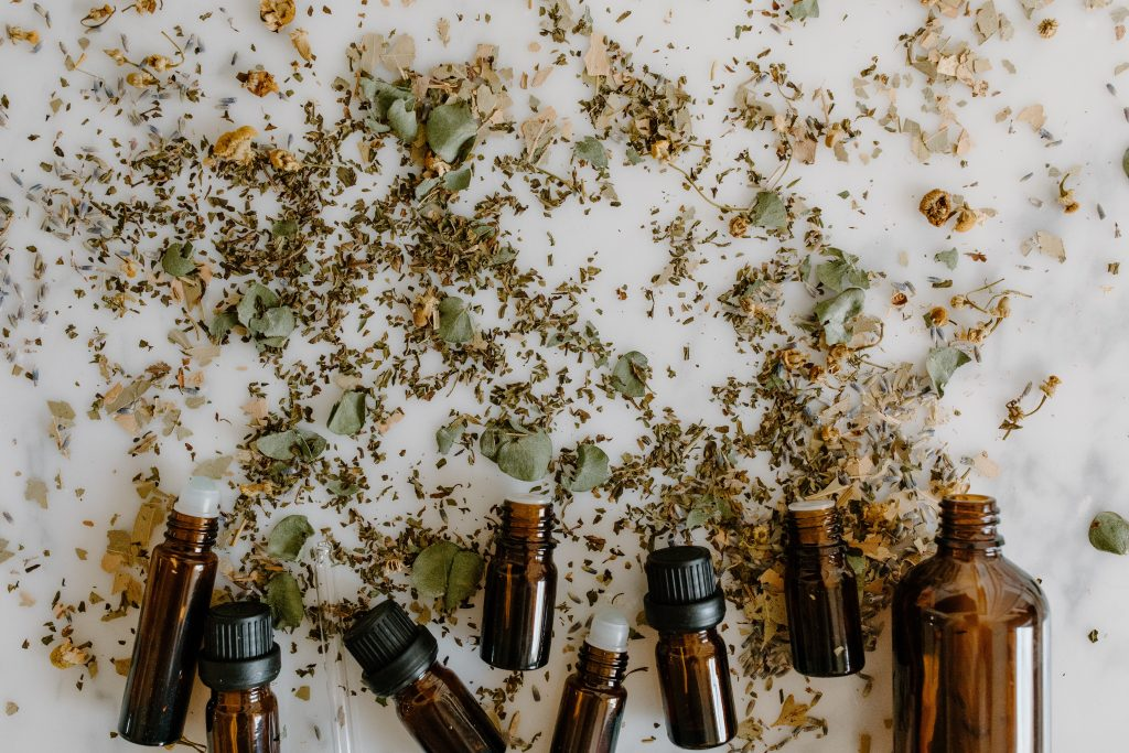 CBD oil in brown bottles.