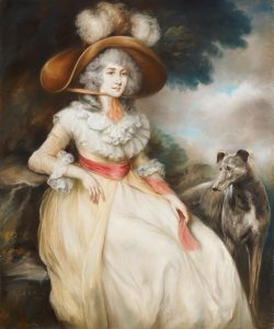 A painting of woman and dog.