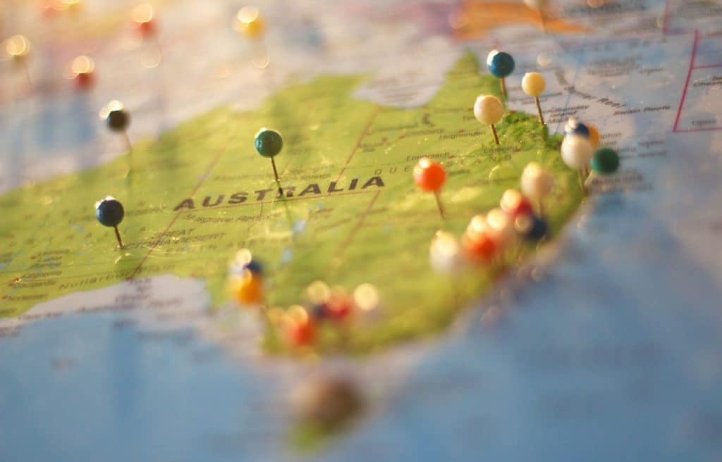 Australian map with pins.
