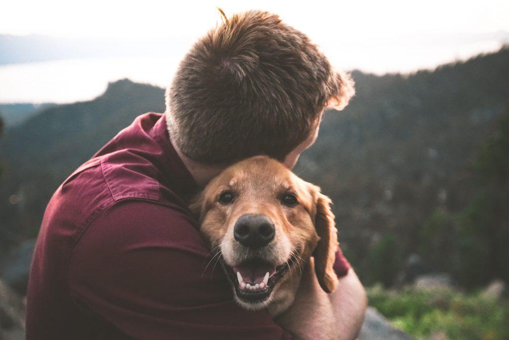 Man hugging a happy dog.