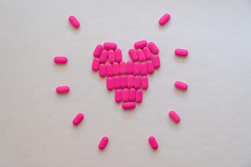 Pink pills formed in heart.