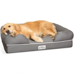 PetFusion Ultimate Lounge Memory Foam Bolster Cat & Dog Bed w/Removable Cover.