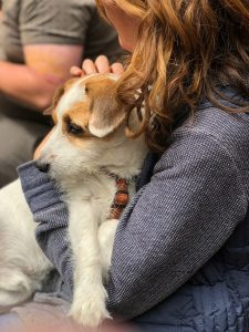 Woman holding her dog.