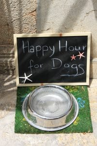 Happy Hour for Dogs sign.