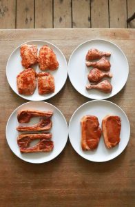 Selection of raw meat.